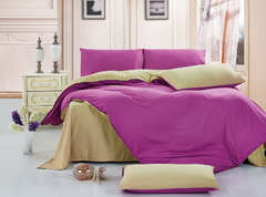 Four Piece Double Color Pure Cotton Duvet Cover Sets double color 5*6