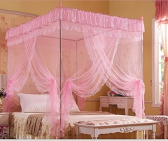 High quality European court  style three doors pink mosquito nets 8830# one color 5*6