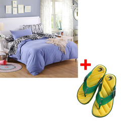 Four Piece High Quality Duvet Cover Set and slippers Combo Multicolor 5*6