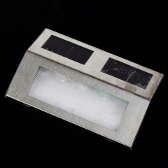 Solar Power Steel LED Light Stairways Landscape Step Stairs Wall Garden Outdoor Yard Lamp Steel color 14*9.5*2.5CM