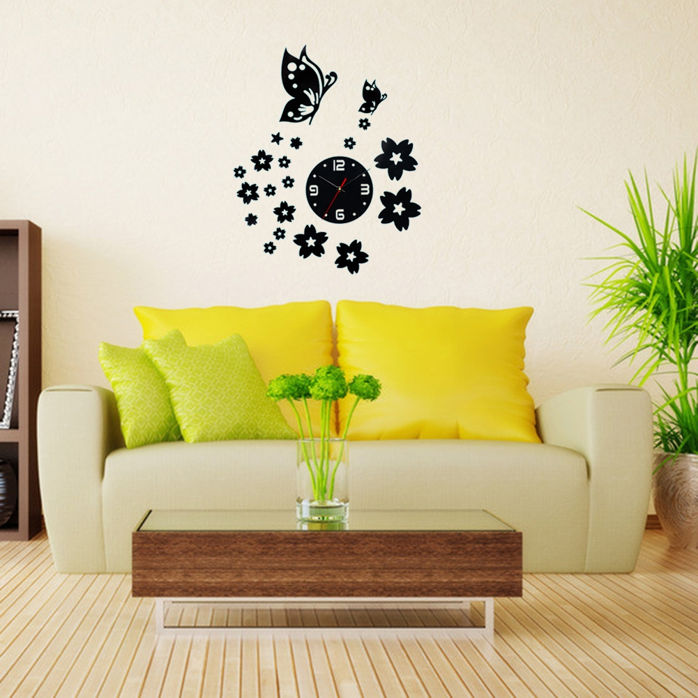 Kilimall: 3D Wall Clocks Unique Butterfly and Flowers Design Mirror ...