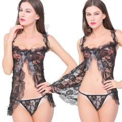 Rose lace sexy underwear sexy cardigan perspective black one size BLACK ONE SIZE