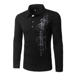 Men's autumn/winter unilateral printed letters long sleeve lapel t-shirts black xl