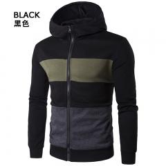 The man hit the color stripe Korean zipper hoodie coat jacket black XL