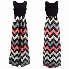 Round neck stitching sleeveless dress womens wave striped dress Color 3 S