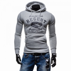Men with sets hooded fleece Printed letters long sleeve T-shirt light gray m