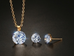 Stainless steel white zircon necklace + Earrings S-160 color one size