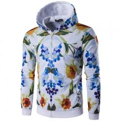 Men's digital print hooded sports Slim sweater color 6 l