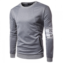Fashion unilateral sleeve printing zipper pocket men 's casual long - sleeved sweater WY17 / 50 001 m