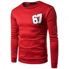 Fashion solid color large body 67 digital men 's casual round long - sleeved sweater WY16 / 50 001 m