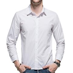 Men 's Slim Long Sleeve Shirt Pure Color Cotton Shirt C407 P30 color 1 m
