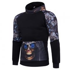 2017 explosive men's skull long sleeve sets of hooded sweater HD70 P50 black m