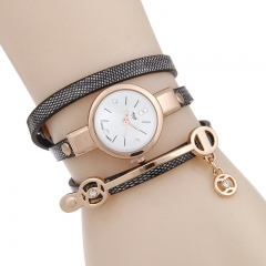 Woogoing New Women Long Leather Bracelet Watches Gold Fashion Quartz Watch Casual Wrist Watch black