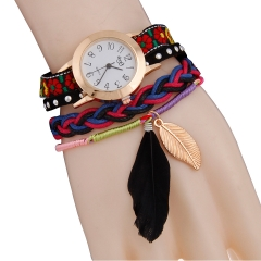 Woogoing Fashion Lady Leaf Feather Pendant Bracelet Twist Braided Quartz Watch black