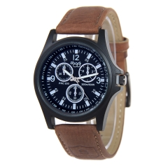 Mens Fashion Leather Band Analog Quartz Wrist Watch black dark  brown