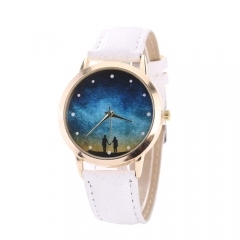 Romantic star couple male and female universal quartz watch 黑色 normal
