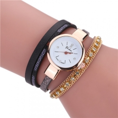 Ladies wrapped bracelet watch zircon claw chain watch 黑色 normal