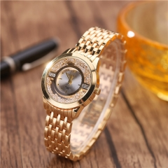 Full star diamond drill sand drill female watch fashion ball fine small dial Ms. quartz watch gold normal