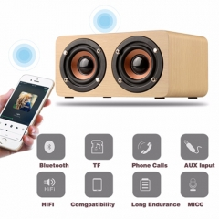 Retro Wooden 10W Bluetooth Speaker HIFI 3D Dual Loudspeaker/ Mini Music Player ,LED Watch For Free yellow one size
