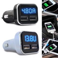 Car Charger LED Display Double USB 12V-24V Output DC 5V/4.8A Power Supply black universal