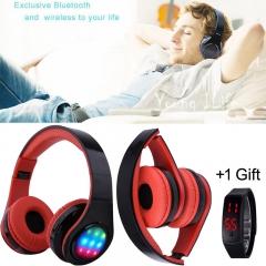 Bluetooth Headphone Wireless Stereo Hifi Sound Music Headset  Foldable Earphone 6 LED Light red portable