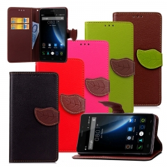 For Doogee-Luxury Magnetic Leaf Phone Cover-Stand Function+Card Holder+Wallet Flip PU Leather black doogee x5 pro