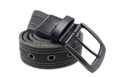 Men's Military Water-Washed Canvas Waist Web Belt Leather Tipped End and Silver Metal Buckle black-105CM