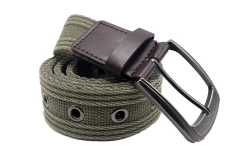 Men's Military Water-Washed Canvas Waist Web Belt Leather Tipped End and Silver Metal Buckle olive-105CM