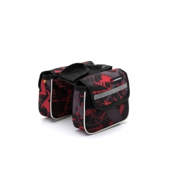 Cycling Pouch Front Rainproof Bicycle Panniers Tube Bag  Bike Bags Bicycle Bikes Case Saddle red