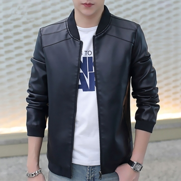 New Men's Leather Jacket Brand Motorcycle Outwear Leather PU Jackets Slim Zipper Coat Size M-3XL 920 black m