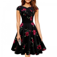 Fashion Vintage Dress Summer Women Clothing Print Flower Off Shoulder Slim Female Party Dresses red s