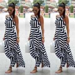 Fashion Casual Summer Women Dress Print Geometric O Neck Sexy Women Sling Dresses Female Clothes black s