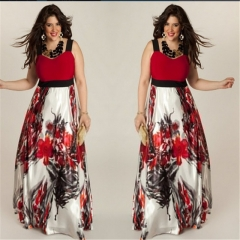 Fashion Plus Size Summer Long Dress Women's Clothes Elegant Print Sling Women Maxi Dresses red l