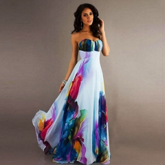 Fashion Women Costumes Wrapped Chest Strapless Chiffon Sexy Female Dress Elegant Party Dress colorful s