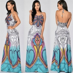 Fashion Summer Women Sling Dress Sleeveless Print Backless Sexy Women Dress Party Night Club Dress colorful s