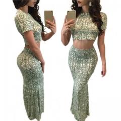 Fashion Autumn Winter Women Clothing Sets 2 Pcs Tops & Skirt Short Sleeve Print Female Outfits Suits Malachite green s