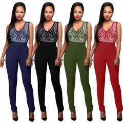 Fashion Women Sexy Jumpsuits Sleeveless Print V Neck Bandage Sexy Women Rompers Female Costumes Royal Blue s