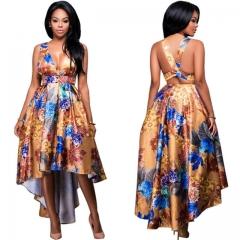 European American Print Women Dress Summer Deep V Neck Backless Sexy Dresses Female Costumes gold s