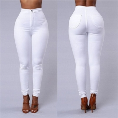 Fashion Women's Costumes Spring Autumn Women Leggings High Waist Candy Color Tight Pencil Pants White m