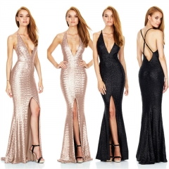 Fashion Evening Dress Sleeveless Split Backless Deep V Neck Sexy Women Dresses Night Club Vestidos black s