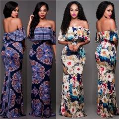 European American Spring Autumn Slim Women Dress Print Shoulderless Night Club Party Dresses dark blue s