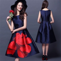 Fashion Women's Costumes Summer Dress Sleeveless Print Beauty Sexy Party Dresses Female Clothes dark blue s