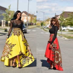 Fashion Spring Autumn Women's Colthes Irregular Print Sexy Women Skirt Party Vacation Beach Skirt yellow s