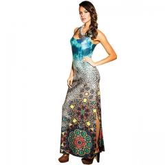 European American Women's Costumes Summer Dress Sleeveless Print Slim Sexy Beach Dresses light blue s
