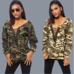 Fashion Casual Autumn Winter Women Tops Full Sleeve Camouflage Thicken Sweatshirts Sport Clothes Gray s