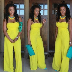 Fashion Summer Women Jumpsuits Sleeveless Hight Waist Backless Wrapped Chest Sexy Party Rompers yellow s
