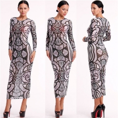 Fashion Retro Female Costumes Spring Autumn Women Dress Full Sleeve Print Slim Sexy Dresses as the picture s