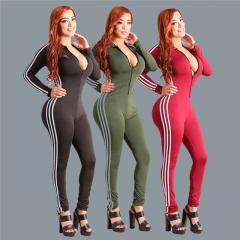 Fashion Women's Clothes Spring Autumn Sexy Jumpsuits Solid Zipper Bandage Slim Women Rompers army green s