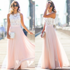 Fashion Elegant Women Evening Dress Summer Lace Mesh Spliced Slim Party Dresses Female Clothes pink s