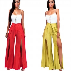 Fashion Women Clothes Sets 2 Pcs Tops & Wide Leg Pants Summer Backless Sexy Female Outfits Suits red s